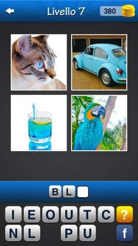 Wordmania Foto Quiz con 4 immagini e 1 Parola