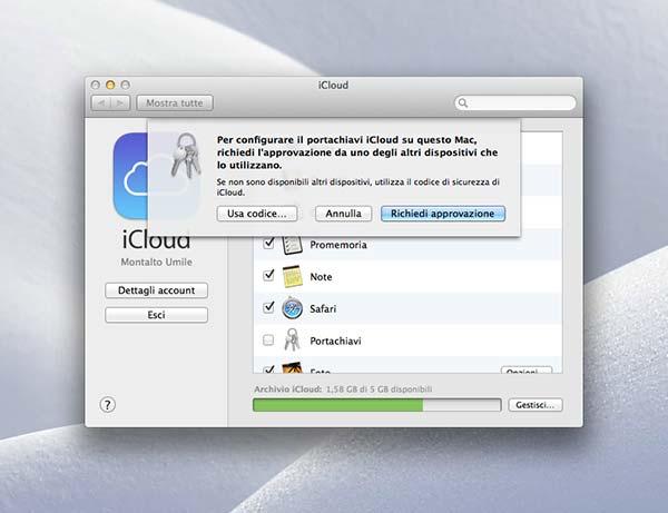 Portachiavi iCloud 5