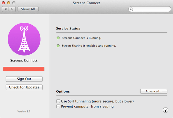 Screens-Connect-settings-window