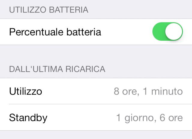 Batteria iOS 7