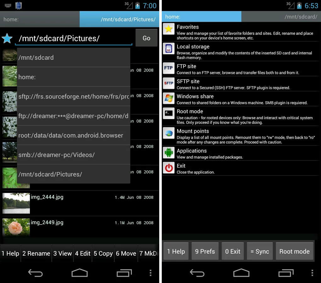 File Manager Android gratuiti ghost commander