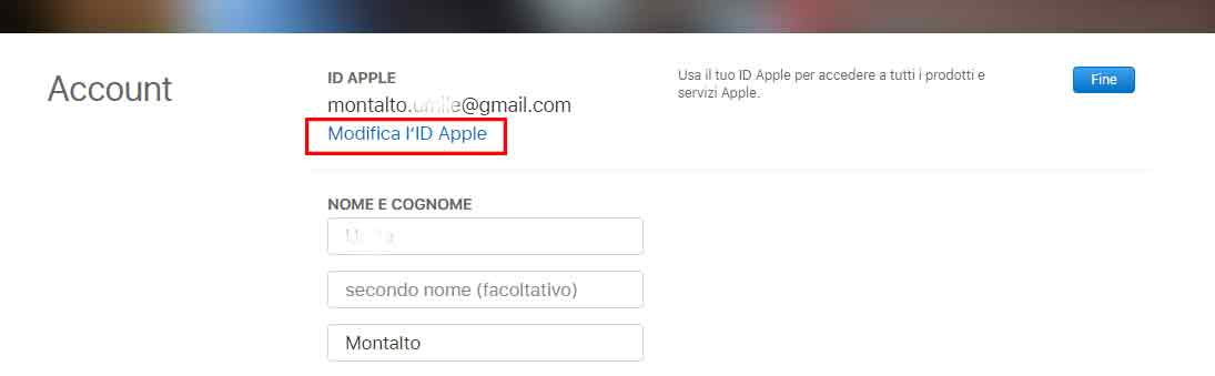 cambiare email ID Apple browser 4