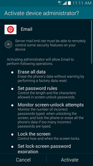 creare account microsoft exchange Galaxy S5 5