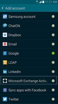 creare account microsoft exchange Galaxy S5 2