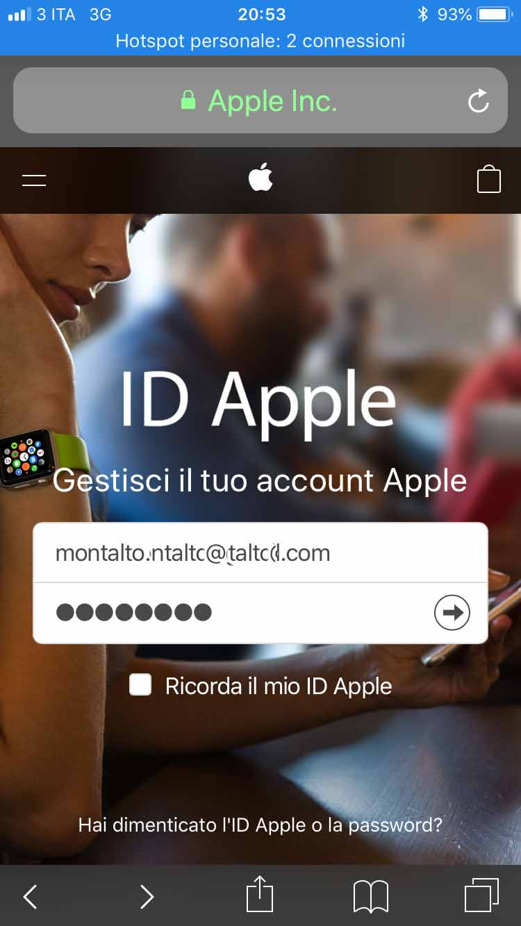 cambiare email ID Apple web
