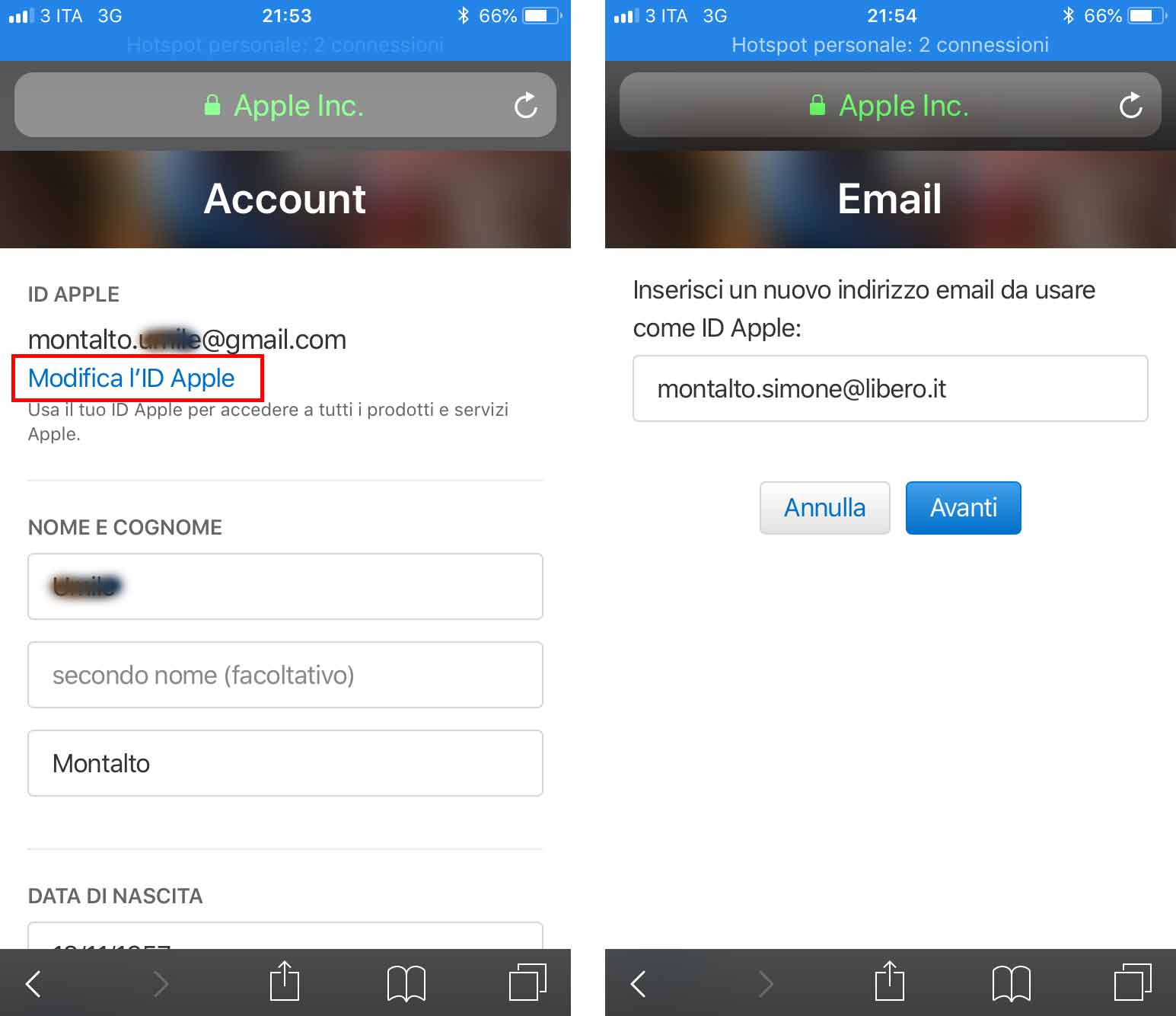 cambiare email ID Apple web 3