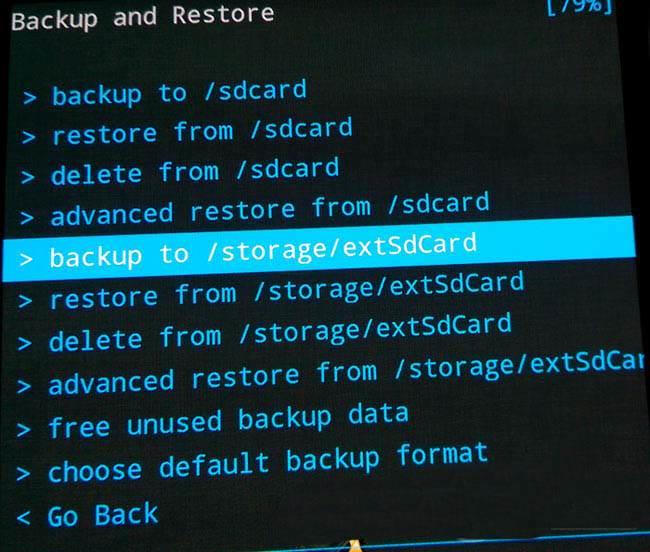 backup e ripristino Android storage