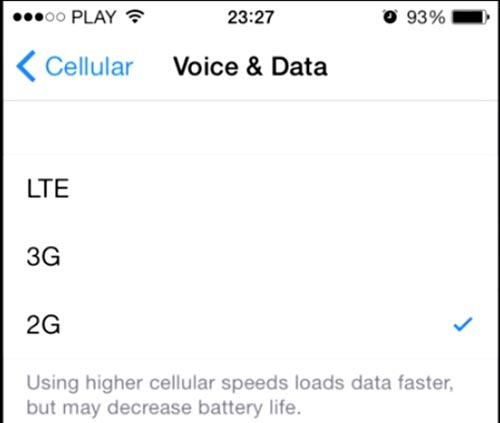 2G e 3G su iPhone iOS 8 c