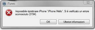 errore 3194 in iTunes 1