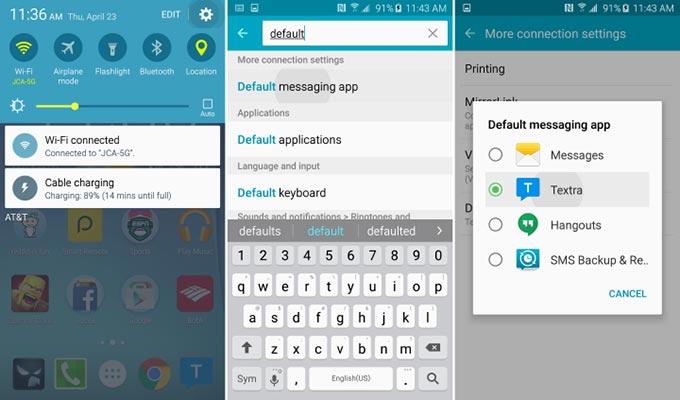 Top Come cambiare l'App di messaggistica predefinita sul Galaxy S6 WR81