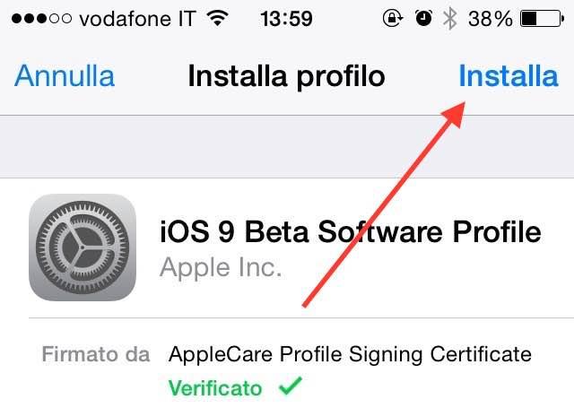Come installare beta pubblica iOS 9 certificato