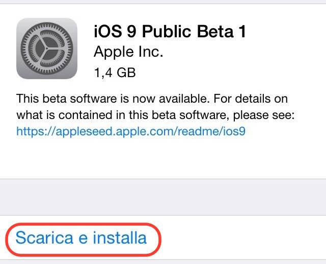 Come installare beta pubblica iOS 9 download