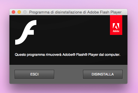 disinstallare flash player su mac 3