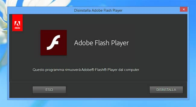 rimuovere flash player da pc 2