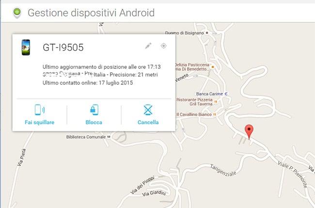 cancellare da remoto dati telefono Android 2
