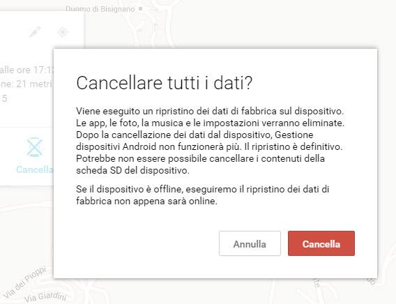 cancellare da remoto dati telefono Android 3