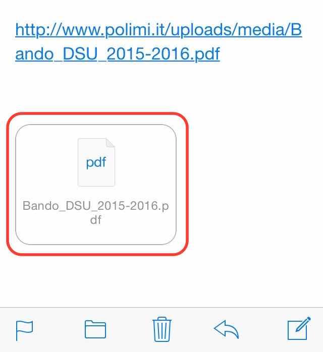leggere PDF su iPhone Allegato