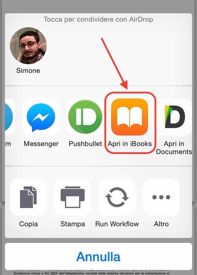 leggere PDF su iPhone Mail Condivisione