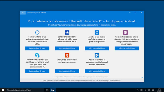 Sincronizzare telefono Android con Windows 10