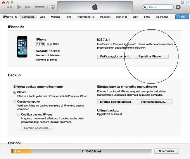 Codice sblocco iPhone itunes
