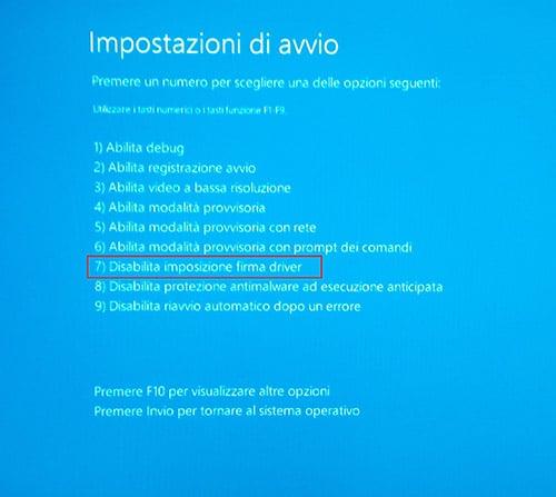 disattivare verificafirma driver Windows 10 6