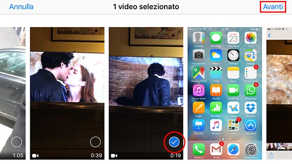 clip video su iPhone 7