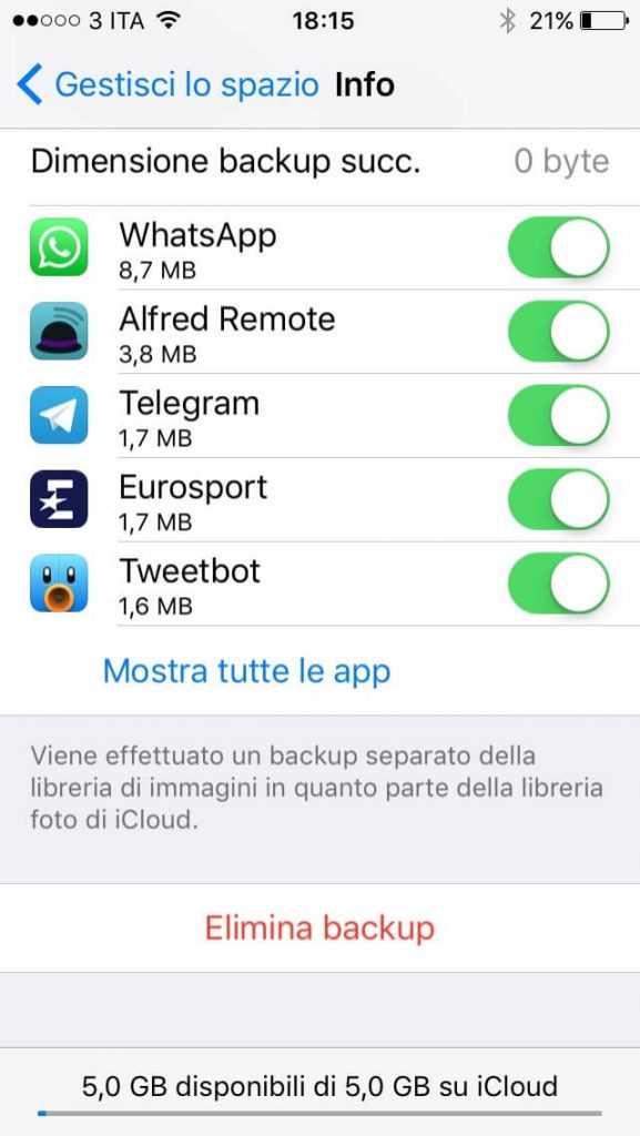 Impossibile completare l'ultimo backup 4