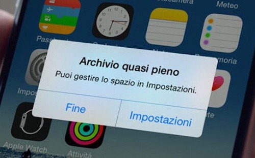 iphone spazio insufficiente per