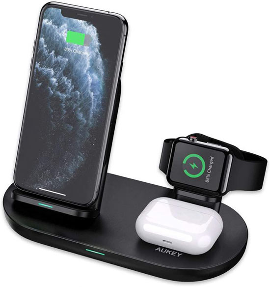 Caricabatterie Wireless Aukey 3 in 1 per iPhone 12, iWatch e AirPods PRO